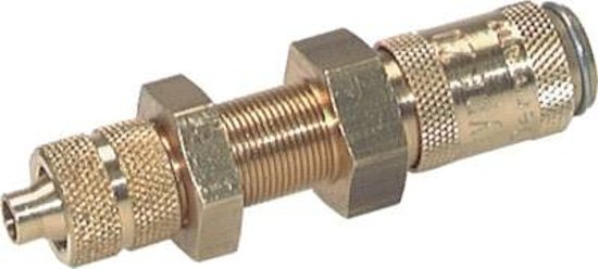 Messing DN 2.7 (Micro) Luchtkoppeling Snelkoppeling 3x4.3 mm Push-On Schotkoppeling - CLS2-NB-B-P-3