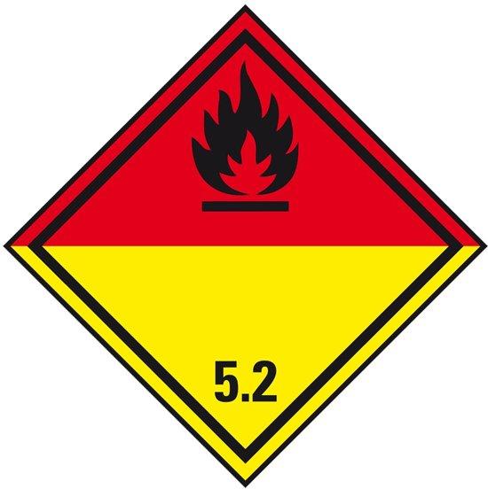 Sticker 'Kl. 5. 2 Organische Peroxide', verpakkingsetiket, 250 x 250 mm