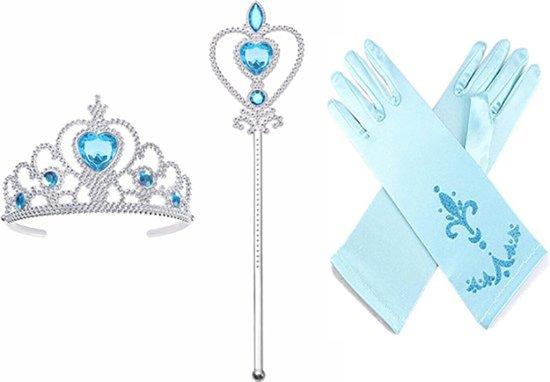 Prinsessen accessoire set - staf + kroon + 1 paar handschoenen- Prinses Elsa - verkleedkleding - jurk