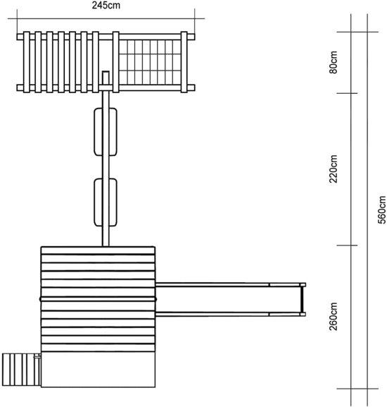 vidaXL Speeltoestel met klimnet, glijbaan, schommels 560 x 440 x 294