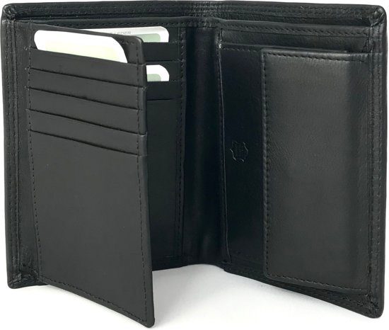 e0bf0d6634d DD-exclusive luxe Heren portemonnee - hoge kwaliteit leer - Staand model -  Zwart