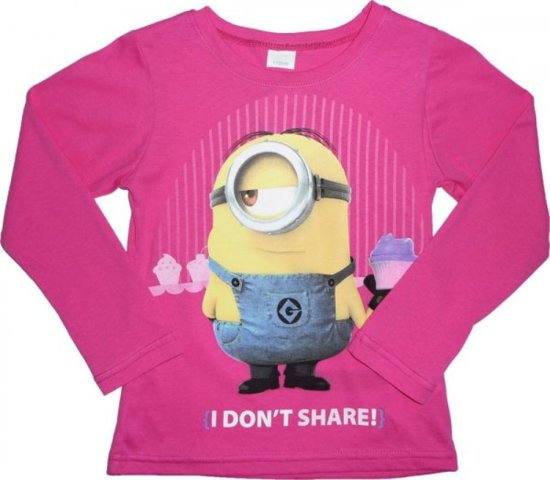 Minions Shirt Roze - Maat 122