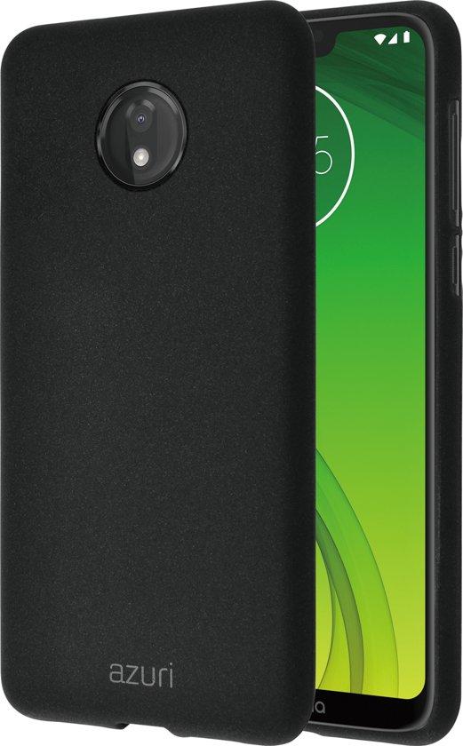 Azuri flexibel hoesje met zandtextuur - Voor  Motorola G7 Power - zwart