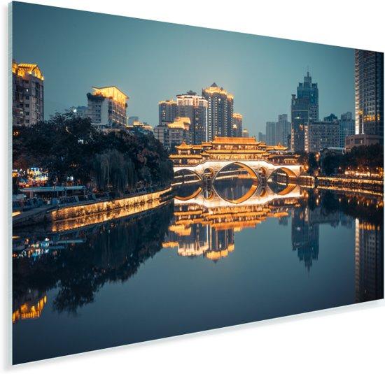 Anshun-brug in Chengdu bij nacht Plexiglas 90x60 cm - Foto print op Glas (Plexiglas wanddecoratie)
