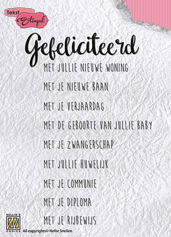 Stempel Nederlandse Tekst - Gefeliciteerd met jullie�