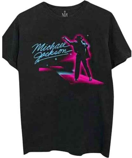 Michael Jackson - Neon heren unisex T-shirt zwart - XL