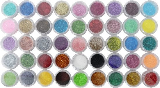 Nagel glitter MEGA PACK, 45 glitters
