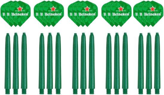 Dragon darts - 15 stuks Heineken - darts flights - inclusief 15 stuks medium - darts shafts - groen