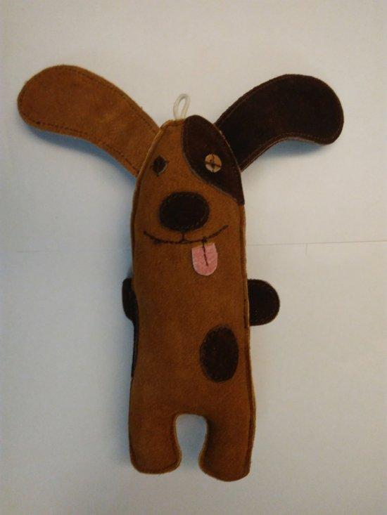Adori Suede Hond - Hondenspeelgoed - 22 x 12 cm - Bruin
