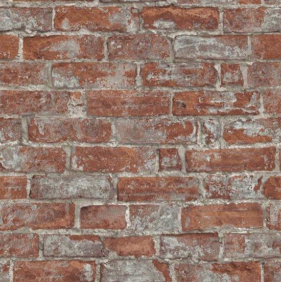 bol | behang - k2 living - steenbehang - steenpatroon - roodbruin