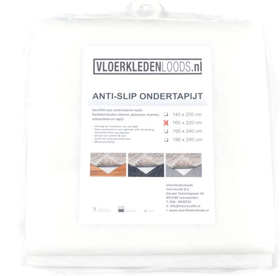 Antislip ondertapijt Vloerkledenloods 160x220 - Wit