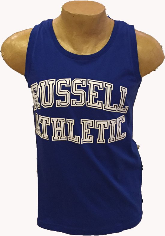 Russell Singlet Groot logo Kobaltblauw/wit