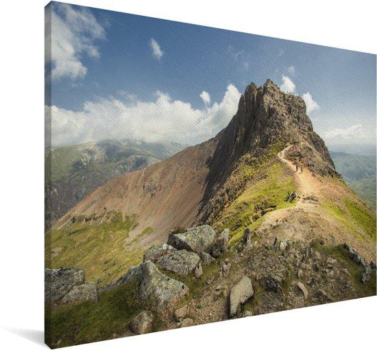 Bergtop in het Nationaal park Snowdonia in Wales Canvas 90x60 cm - Foto print op Canvas schilderij (Wanddecoratie woonkamer / slaapkamer)