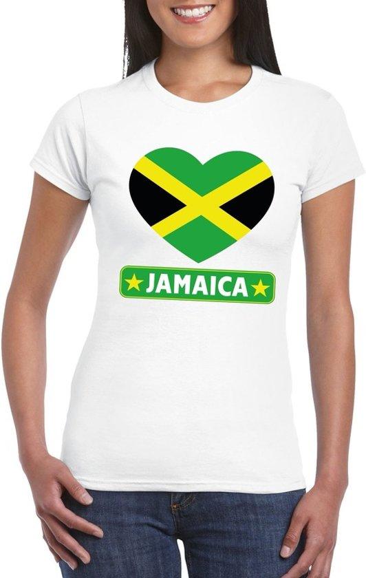 Jamaica hart vlag t-shirt wit dames M