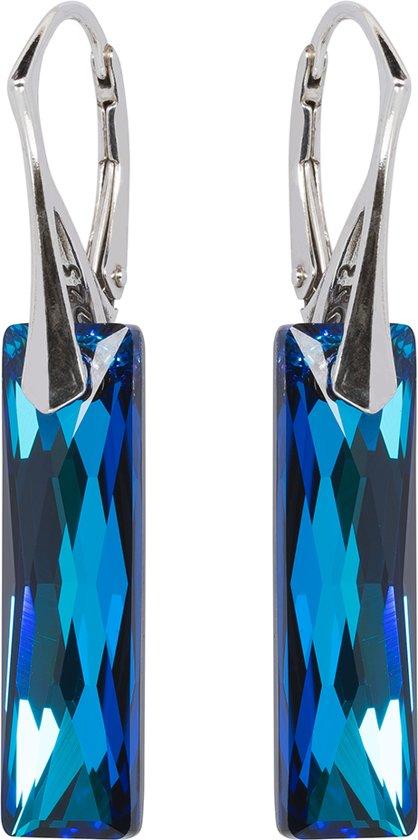 Oorbellen met Swarovski Kristallen Baquette Bermuda Blue - 925 zilver