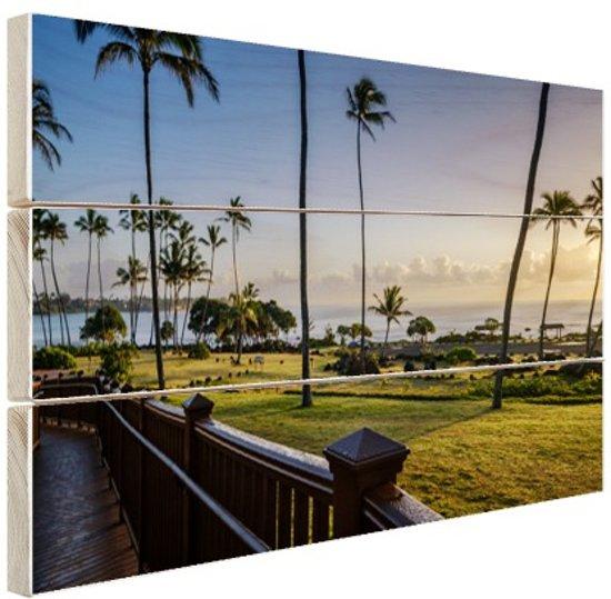 Zonsopgang Kauai Hout 160x120 cm - Foto print op Hout (Wanddecoratie) XXL / Groot formaat! / Zee en Strand