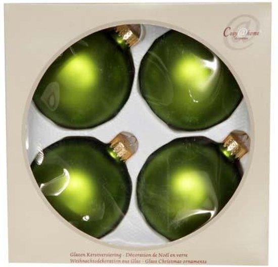 Cosy @ Home Kerstbal glas set 4 appelgroen mat 8cm