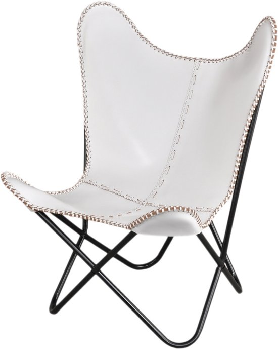fujl butterfly chair vlinderstoel leder wit. Black Bedroom Furniture Sets. Home Design Ideas