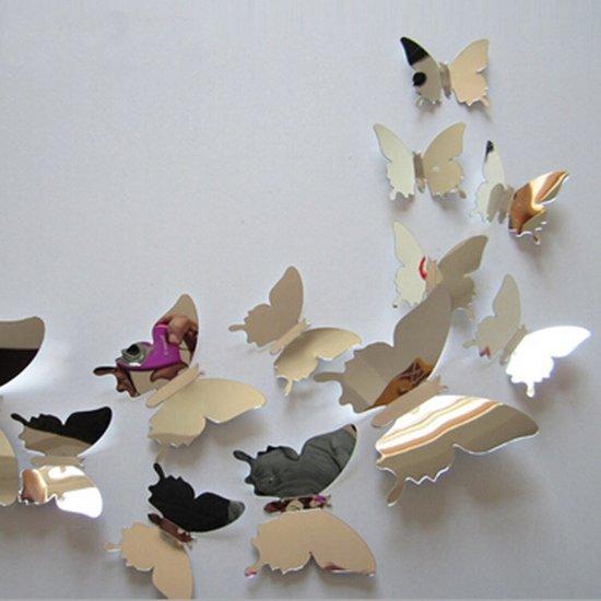 Foto Op De Muur.Bol Com 3d Spiegel Vlinders Muur Stickers Muurdecoratie Voor