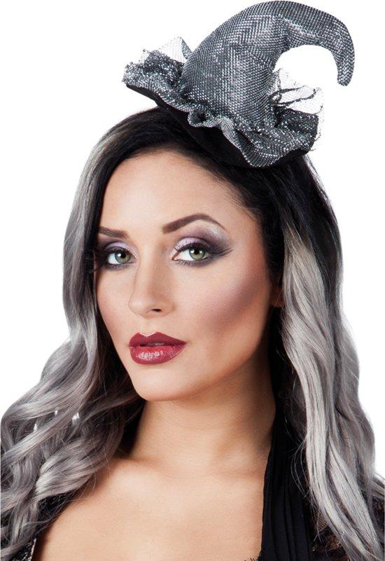Zilverkleurige mini heksenhoed voor vrouwen - Verkleedhoofddeksel