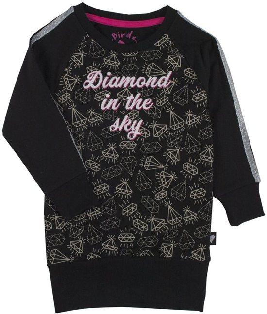 uitchecken online te koop schattig Birds by D-RAK-meisjes-sweat jurk, kleed-Diamond in the sky-kleur: roze,  wit, zwart-maat 152