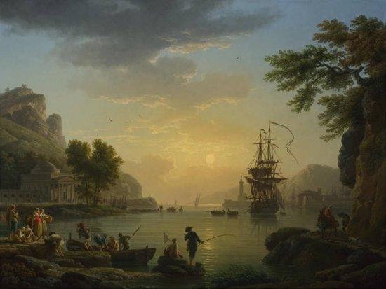 Claude Joseph Vernet : A Landscape at Sunset (1773) Canvas Print