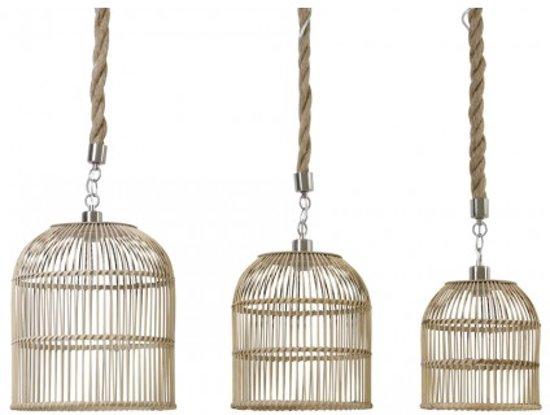 bol.com | Hanglamp Rond - Bruin Naturel Touw - Ø35X39cm - 3 lampenset
