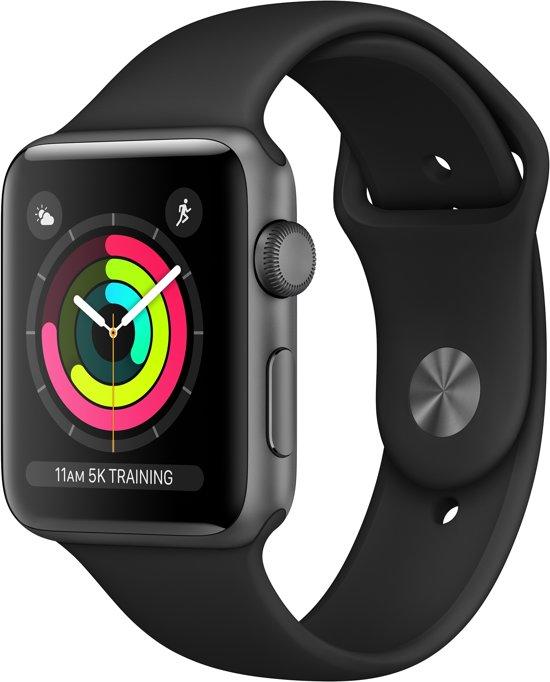 Apple Watch Series 3 - Smartwatch 42mm - Spacegrijs Aluminium / Zwart Sportband