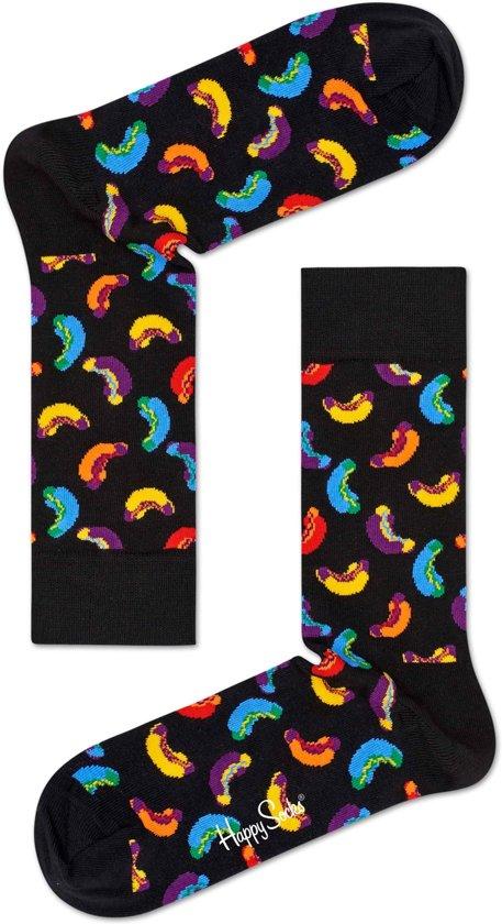Happy Socks Hot Dog Junkfood Sokken - Zwart - Maat 36-40