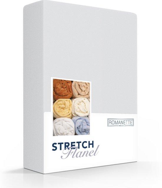 Romanette stretch flanel hoeslaken - Zilver - 1-persoons (80/90/100x200/220 cm)