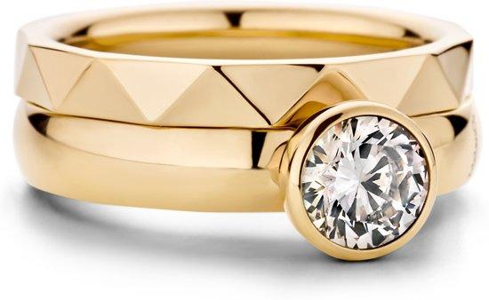 Melano twisted tracy ringset - goudkleurig + crystal - dames - maat 56