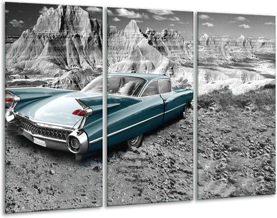 Schilderij   Canvas Schilderij Oldtimer, Auto   Zwart, Wit   120x80cm 3Luik   Foto print op Canvas