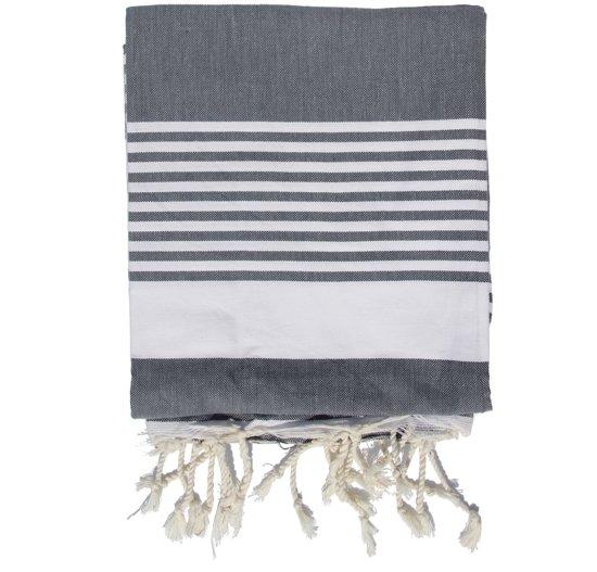 Strandkleed / Hamamdoek XXL - donkergrijs met witte strepen