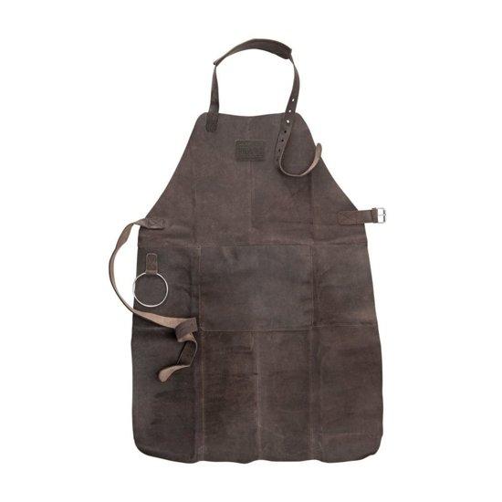 Lederen BBQ Schort - Schort met voorvak, verstelbare nekband heupriem en functionele riem - donker bruin - leer leren BBQschort BarBeQue-schort keukenschort degelijk stevig donker bruin