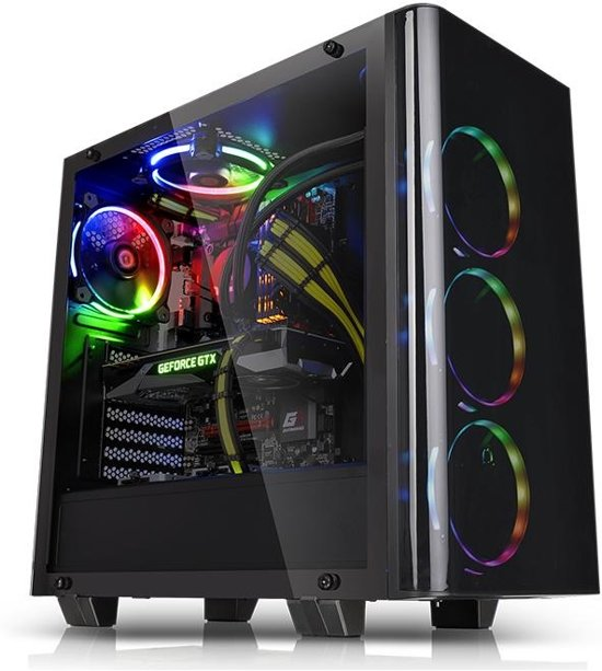 Thermaltake View 21 Tempered Glass Edition Midi-Toren Zwart computerbehuizing