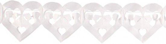 Huwelijk slinger hartjes wit 6 meter
