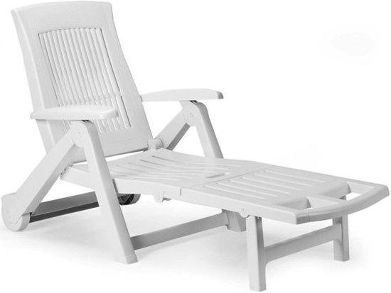 Tuinstoel Ligstoel Wit.Tuinstoel Zircone Ligstoel Inklapbaar Weerbestendig Wit