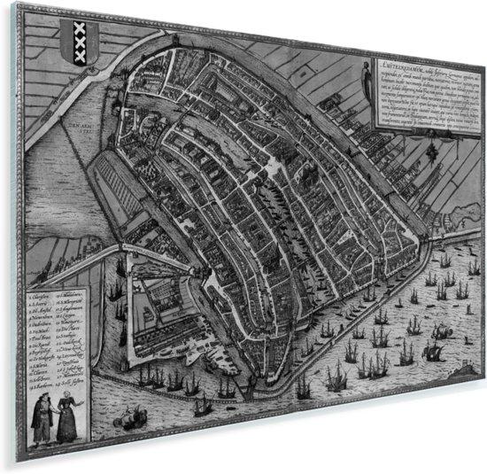 Een historische zwart-wit stadskaart van Amsterdam Plexiglas - Plattegrond 160x120 cm - Foto print op Glas (Plexiglas wanddecoratie) XXL / Groot formaat!