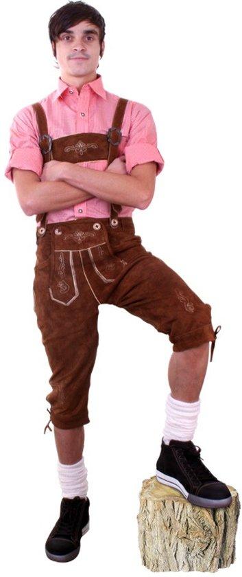 Lederhose bruin knee-over + borduur (echt leer) mt.50