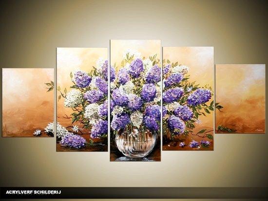 bol.com | Acryl Schilderij Woonkamer | Paars, Bruin, Crème ...
