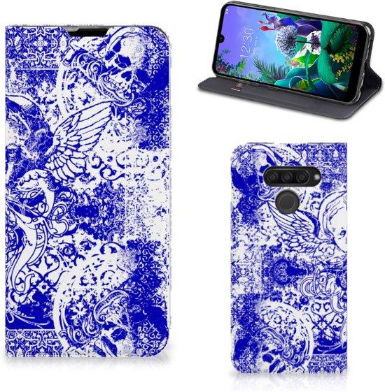 Mobiel BookCase LG Q60 Angel Skull Blue