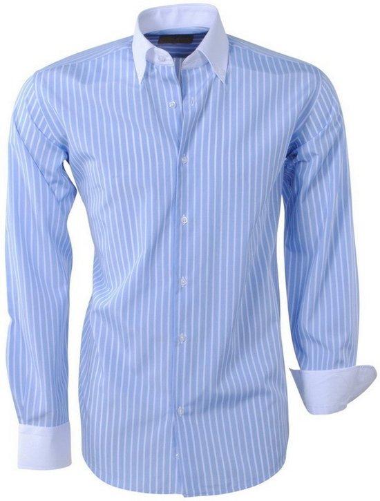 Brentford and Son - Heren Overhemd - Ongetailleerd - Gestreept - Licht Blauw