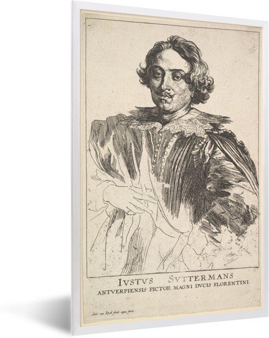 Foto in lijst - Portret van Justus Suttermans - Schilderij van Anthony van Dyck fotolijst wit 40x60 cm - Poster in lijst (Wanddecoratie woonkamer / slaapkamer)