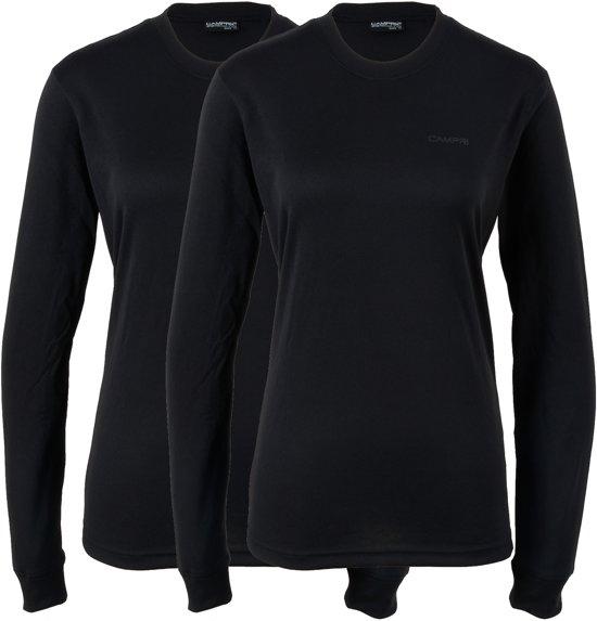 Campri Thermoshirt lange mouw (2-PACK) - Sportshirt - Dames - Maat XS - Zwart