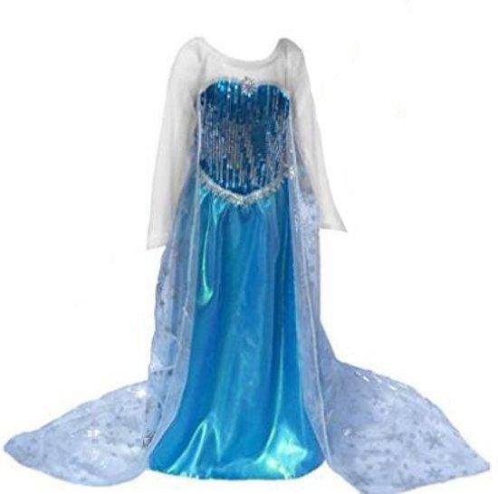 1c42b4651f6f88 Elsa jurk - prinsessenjurk 110- met gratis ketting maat 98 104 -  verkleedkleding