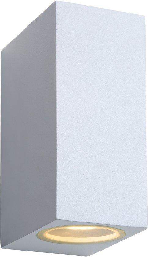 Lucide ZORA-LED - Wandspot Buiten - LED Dimb. - GU10 - 2x5W 3000K - IP44 - Wit