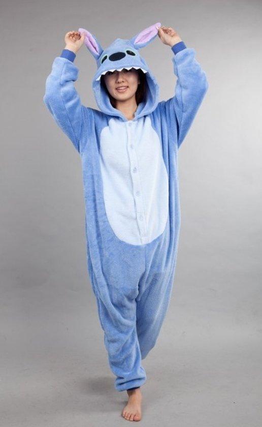 KIMU Onesie Lilo & Stitch pak kostuum blauw - maat L-XL - Stitchpak jumpsuit huispak festival