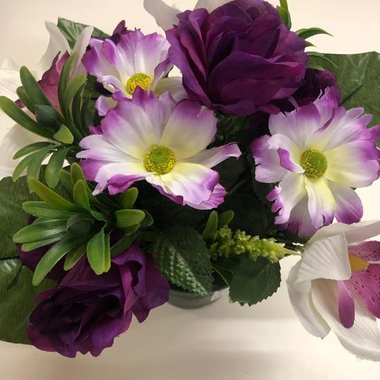 Bloemen In Pot.Geramines En Pot Nep Bloemen Paars