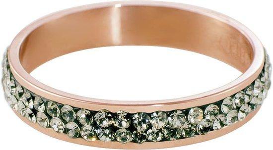 Quiges Stapelring Ring - Vulring Grijs Zirkonia - Dames - RVS roségoudkleurige - Maat 21 - Hoogte 4mm