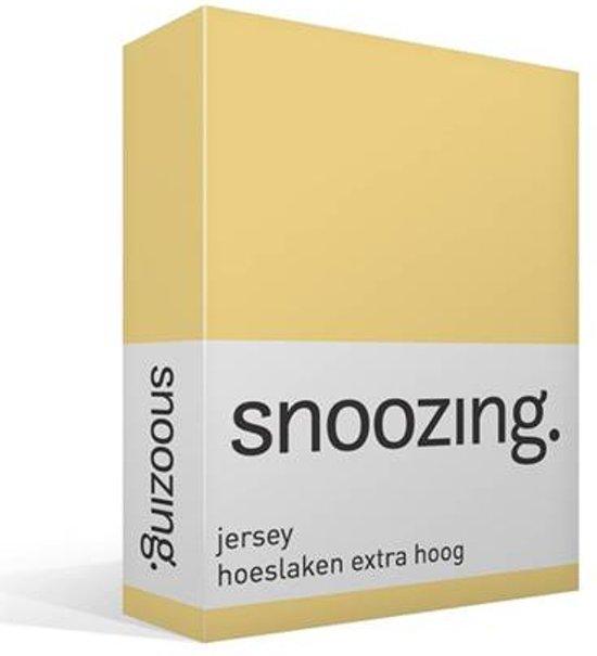 Snoozing Jersey - Hoeslaken Extra Hoog - 100% gebreide katoen - 70x200 cm - Geel